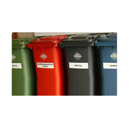 Recycling Bins With Stickers – 240L